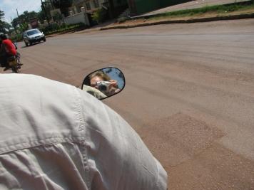 On the back of bike - Kampala