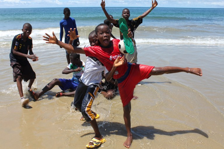 Boys at Freetown beach - click on the photo for more